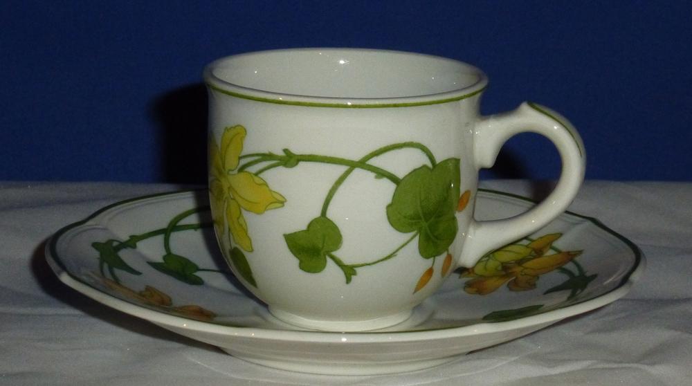 villeroy boch geranium kaffeetasse mit untertasse neu. Black Bedroom Furniture Sets. Home Design Ideas